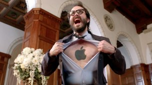 black-ink-apple-tattoo-on-man-chest